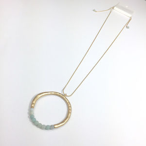 "Jewelry - Amazonite Circle Pendant Necklace 18"" Adjustable"